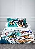 TODAY Enjoy NY Colors-Parure HC3 : Housse de Couette New York 220x240 + 2 Taies d'Oreiller 100% Coton, 57 Fils, Bleu Vert