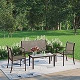 Joolihome Garden Furniture 4 Seater, Rectangular Glass Coffee Table 2 Textilene Armchairs 1 Double Seat Sofa, 3 + 1 Piece Ind