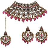 Matushri Art Indian Traditional Jewelry with Pink Stones Gold Plated Antique Choker For Womens And Girls