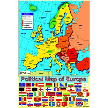 Laminated Political Map Of Europe European Poster With Flags