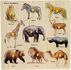 BabyGo Wooden Wild Animals Identification Teaching Tray with Knobs (30cm x 30cm) (Multi Color)