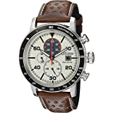 Citizen Eco-Drive Brycen Chronograph Mens Watch, Stainless Steel with Leather strap, Weekender, Brown (Model: CA0649-06X)