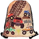 HECKBO® Jungen Jungs Kinder Turnbeutel - Monster Truck Motiv (beidseitig) - waschmaschinenfest - 40x32cm - Kindergarten, Krip