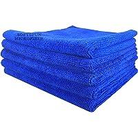SOFTSPUN Microfiber Cleaning Cloths, 30x30cms 5pcs Towel Set 340 GSM Blue. Highly Absorbent, Lint and Streak Free, Multi…