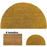 LucaHome - Felpudo de Coco Natural 40x70cm semiluna con Base Antideslizante, Felpudo de Coco Liso. Felpudo Absorbente Entrada