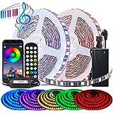 BIHRTC RGB LED Streifen Strip Set 5050 SMD 10m 32.8ft 600 LEDs Band Licht Lichtband Lichtstreifen mit App Kontroller Farbwech