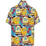 LA LEELA Men's Funny Holiday Dress Short Sleeve Hawaiian Shirt A