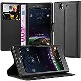 Cadorabo Hülle für Sony Xperia Z (1.Gen.) Hülle in Phantom schwarz Handyhülle mit Kartenfach und Standfunktion Case Cover Schutzhülle Etui Tasche Book Klapp Style Phantom-Schwarz