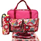 2084 Green Floral Bright Colour Large Waterproof Baby Nappy Changing Bags Diaper Hospital Bag New