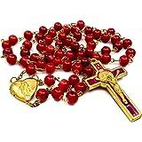 Nazareth Store Collana con rosario di perle di corallo rosso Cattolico San Benedetto Coroncina medaglione medaglione e croce