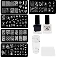 Lifestyle-You® Nail Stamping Kit With 5 Rectangular Steel Image Plates, Silicone Stamper & Scraper & Stamping Nail…