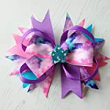 Large Galaxy Print Hair Bow on Clip or Barrette, In Pinks, Purples and Turquoise. Perfect for Space Girls, with Glitter…