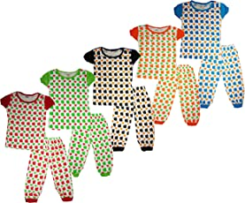 KIFAYATI BAZAR Kids Girls Nightwear/Sleepwear top and Bottom in Multi Color Pack of 5