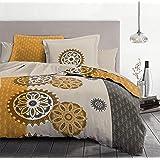 Home Linge Passion, Housse de Couette - 3 Pièces, 100% Coton - 57 Fils, 2 Personnes - 220x240 cm, Yucatan - Gris et Ocre Oran