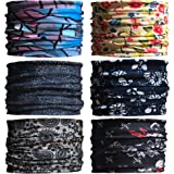 Sea Team 6-pack Assorted 18 in 1 Versatile Polyester Fiber Sports & Casual Headwear - Can be Used as Neck Gaiters, Bandannas,