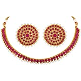 Aheli Bollywood Fashion Faux Stone Wedding Necklace Earrings Indian Fashion Jewelry Set for Women