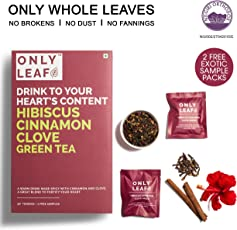 Onlyleaf Hibiscus Cinnamon Clove Green Tea, 52 Tea Bags with 2 Free Exotic Samples
