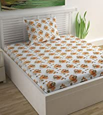 Divine Casa 100% Cotton Single Bedsheet with Pillow Cover