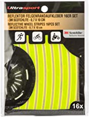 Ultrasport reflektierende Felgenrandaufkleber (16er-Pack) – Sichere Sichtbarkeit zum Aufkleben, Neon Gelb
