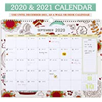 Family Monthly Planner Wall Calendar 2020-2021, Monthly Calendar for Office & Home, Premium Thick Paper for Organising & Planning, Twin-Wire Binding, Unique Design (43 x 33.5cm)