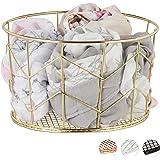 Relaxdays Kosz druciany, okrągły, styl vintage, przechowywanie, ubrania, akcesoria, kosz dekoracyjny, metal, Ø 21,5 cm, złoty