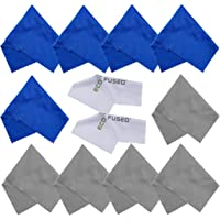 Chiffons de Nettoyages en Micro-Fibre - 10 Chiffons Colorés et 2 Chiffons Blancs, Idéal pour Nettoyer Lunettes, Montures…