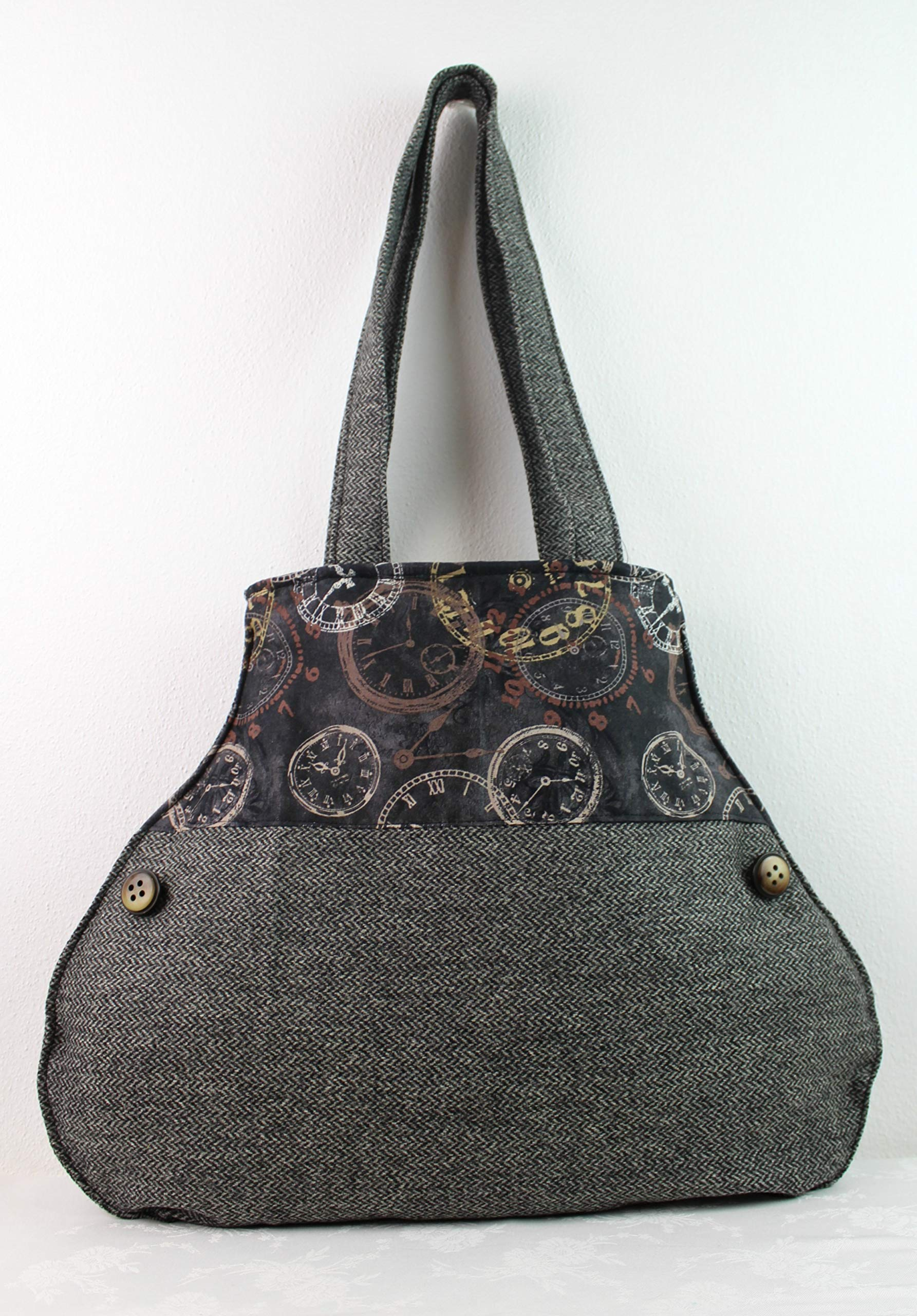 Shoulder bag - WOOL and BATIK with Clocks - handmade-bags