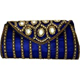 Craft Trade Womens Ethnic Handmade Embroidered Designer Mirror Work Rajasthani Style Clutch Hand Bag Purse Wallet for Wedding