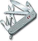 Victorinox Farmer X Alox Taschenmesser, (10 Funktionen, grosse Klinge, Holzsäge, Schere), silber