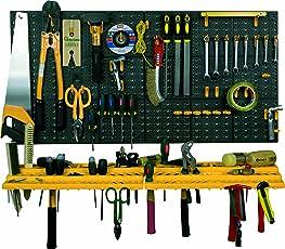 Art Plast Kit due pannelli per attrezzi 50x50 cm completi di due mensole e 50 ganci assortiti, in plastica, nero/giallo