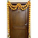 SPHINX Artificial Marigold Fluffy Flowers Garlands Door Toran /Door Hangings (Yellow & Dark Orange, 1 Piece)