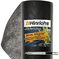 Hinrichs 50mt Telo Pacciamatura Orto - 50g/m² - Protegge da Talpe ed Erbacce - Permeabile all'Acqua - 1 Rotolo