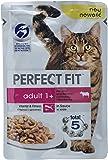 Perfect Fit Katzen-/Nassfutter Adult 1+ für erwachsene Katzen Adult mit Rind & Karotten, 12 Portionsbeutel (12 x 85 g)