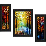 SAF Set of 3 Walking Couple Watercolor UV Coated Home Decorative Gift Item Framed Painting 13.5 inch X 22.5 inch SANFSAA9201