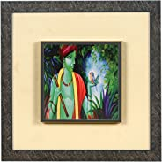 Wens 'Religious Krishna Embossed' Wall Art Painting (Synthetic Wood, 33 cm x 33 cm x 4 cm)