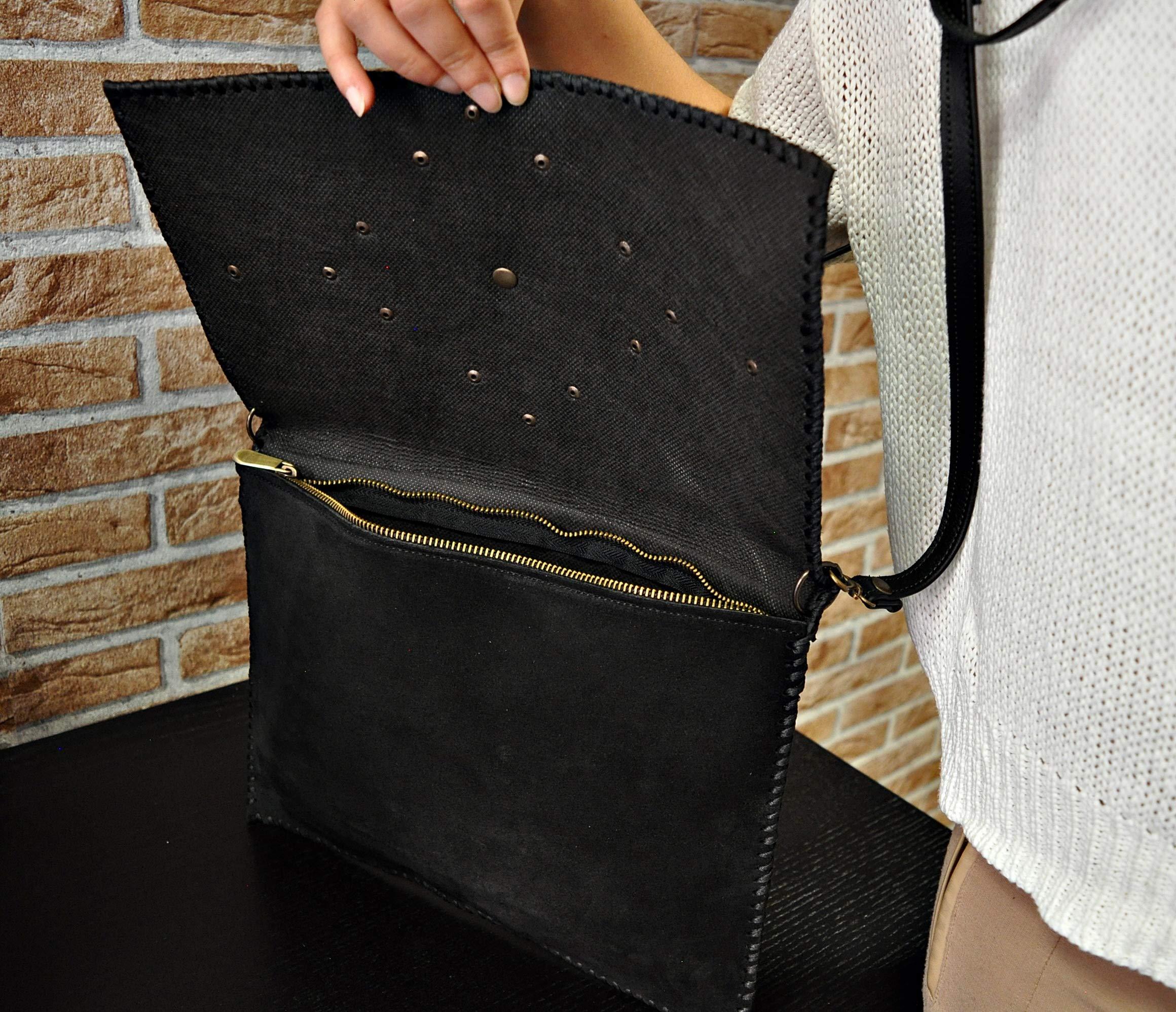 Taj Mahal Suede Shoulder Bag- Black - handmade-bags