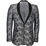 Xposed Mens Tuxedo Jacket Black Shawl Collar Wedding Dinner Dress Party Slim Fit Printed Blazer Grey/Blue
