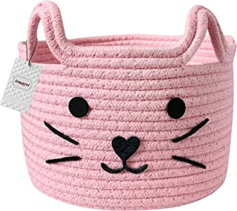 Inwagui Collapsible Storage Basket Soft Plush Toys Basket Cute Animal Fabric Storage Bin Decor Hamper for Nursery Kids Room Grey Cat