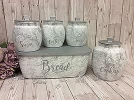kilner tea coffee sugar 0.85 litre canister jars and bread bin marble effect