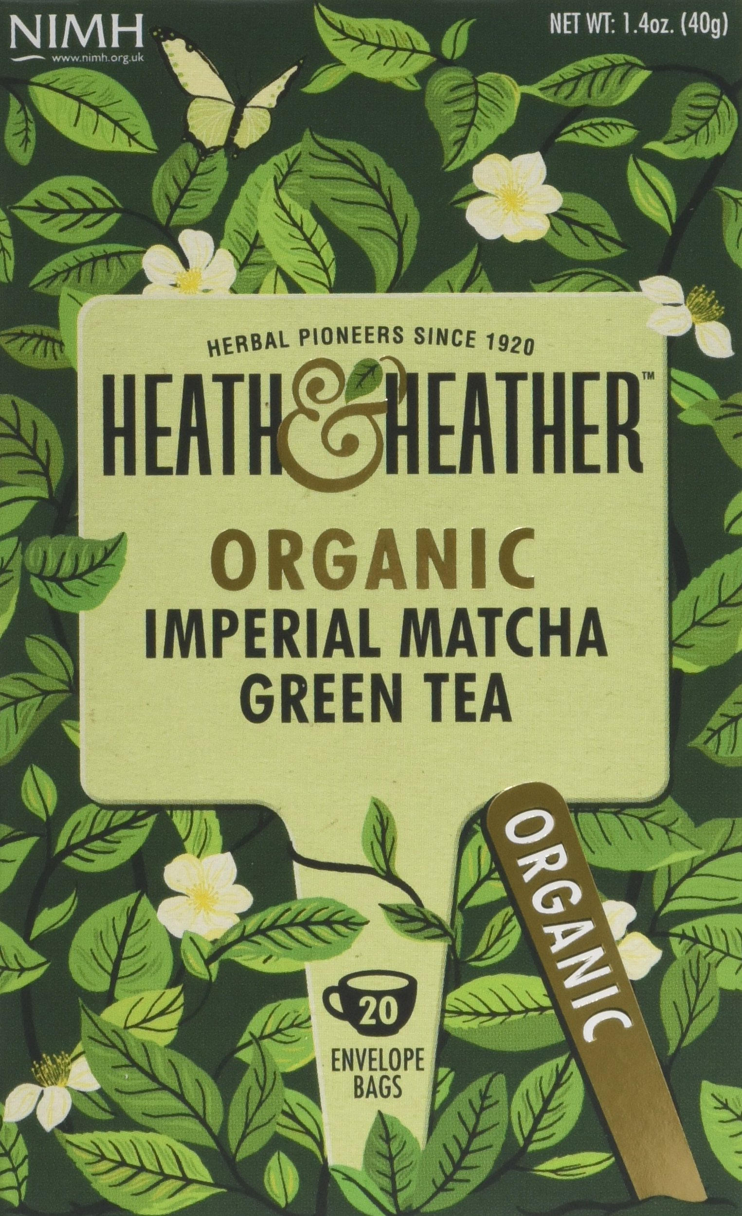 Heath & Heather organic green tea tea (soil association) (green tea) (matcha) (120 bags) (brews in 2-3 minutes)