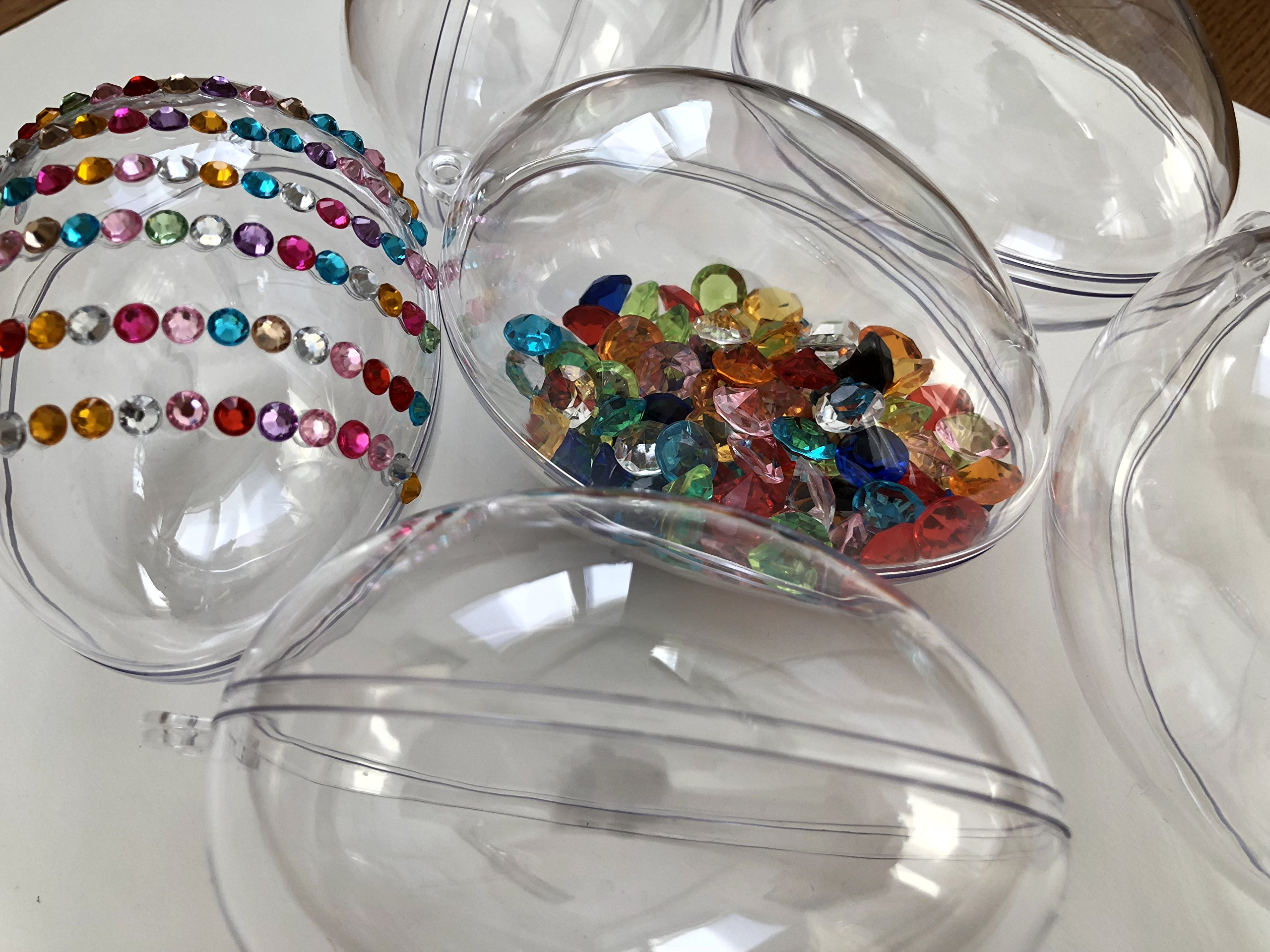 CRYSTAL-KING-10-Acryl-EIE-Ostern-Ei-Ostereier-10cm-Durchmesser-durchsichtig-Acryl-Kugel-Aufhngen-Plastik-Ostereier-Acryl-Form-transparente-Kunststoff-Kugel-zum-Befllen-Bastel-Ei-Osterei