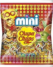 Chupa Chups Mini Classic Lutscher, 100er Beutel Lollis, Geschmacksrichtungen: Cola + Orange + Erdbeere + Apfel + Kirsche