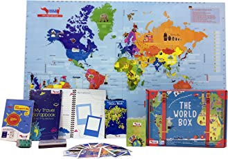 Traveller Kids World Box Learn Geography with Maps, Passport, Scrapbook for Kids age 5-8, 9 - 11 Years (Multicolour, TKBSK)
