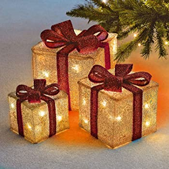 Sentik® Set of 3 LED Light Up Decorative Coloured Christmas Parcel Set with  Bow Indoor Outdoor Decoration Xmas Lights (Cream & Red) - Christmas Decorations Sale Pre Lit Light Up Christmas Parcels Gift
