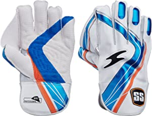 SS Professional Men's Wicket Keeping Gloves (White/Blue)
