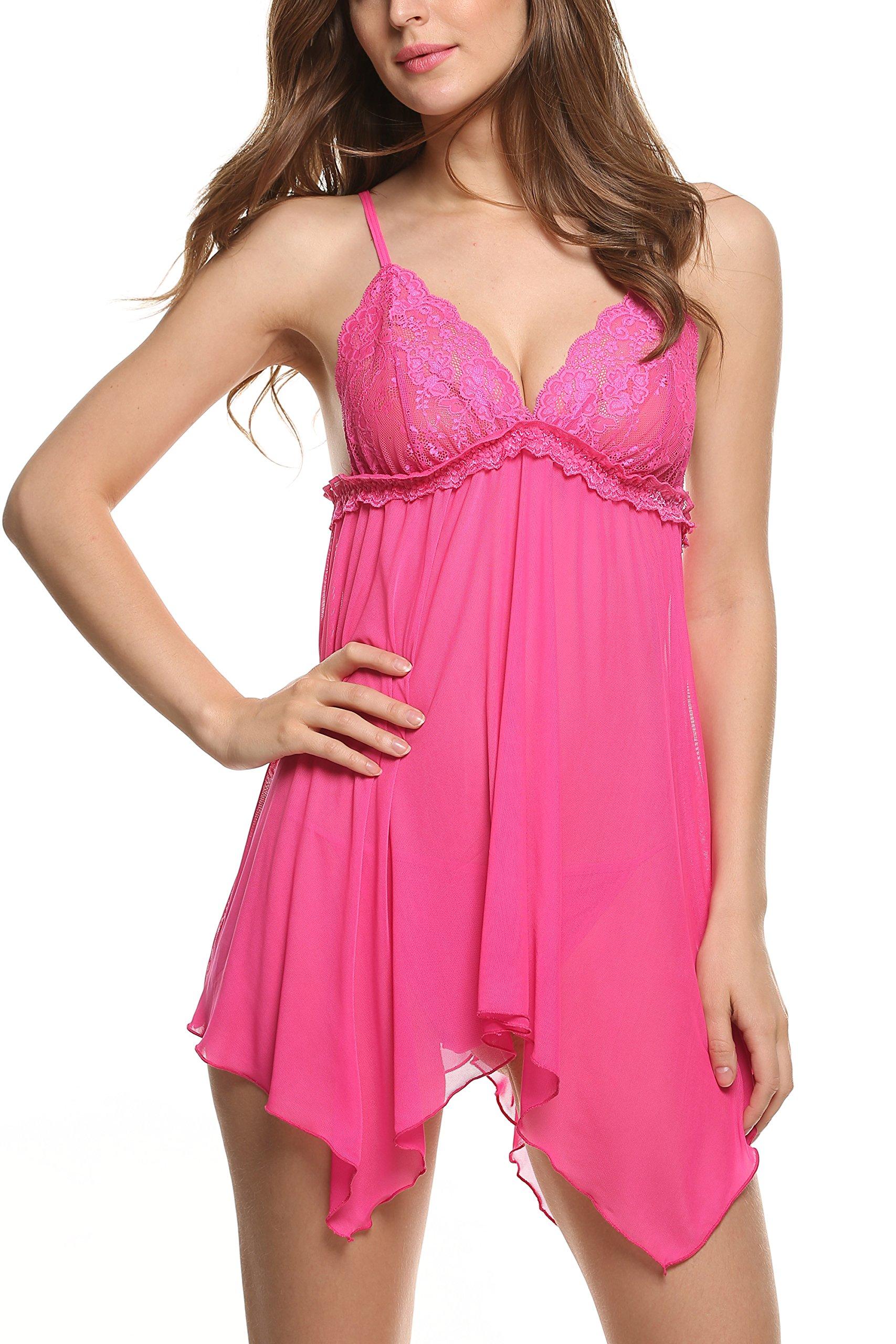 Avidlove irregolari attraverso Sexy, lunghezza vestito e vari Halter, Lingerie Chemise Style2-Rose