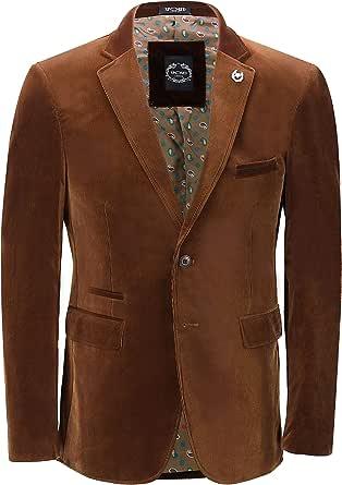Xposed Mens Soft Corduroy Blazer Coat Vintage Retro Tailored Suit Jacket UK[BLZ-MATTHEW-BROWN-48,Blazer-Brown,Chest UK/US 48 EU 58]