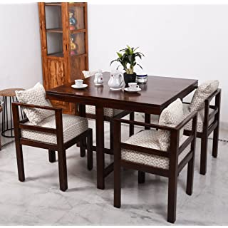Home Edge Modern and Unqiue Contemporary Bayne Sheesham Wood Four Seater Dining Table Set for Living Room Dinning Room  Teak Finish   Matured Wooden F