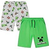 Minecraft Pantalones Cortos, Pack de 2 Pantalones Chandal Niño Deporte Casa, Regalos para Niños y Adolescentes 4-14 Años