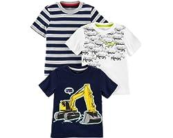 Simple Joys by Carter's T-Shirt Grafica a Maniche Corte Bimbo 0-24, Pacco da 3
